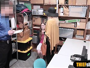 two teenage shoplifter woman got caught stealing undergarments