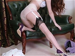 stunner unclothes to nylons high-heeled slippers to plaything her cunny