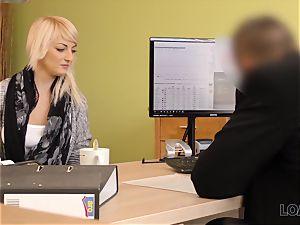 LOAN4K. Blonde-haired miss gets sissy banged rock hard in loan porn video