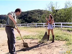 August Ames gets her breasts creamed outdoors