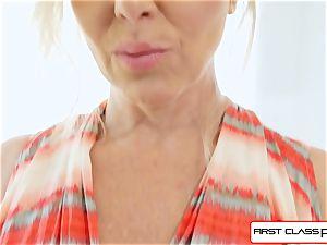 FirstClass point of view - enjoy Julia Ann deep throating a thick massive sausage