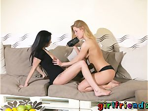 girlfriends Chrissy Fox and yam-sized funbags babe Foxxi dark-hued