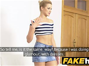 fake Agent Tall bony erotic model in perspiring casting