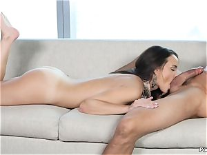 garrulous Dillion Harper shafted by a suited fellow