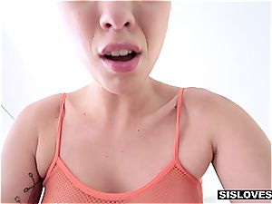 little step-sister Jade Nile wants her step-brother to spunk on her glazed fun bags